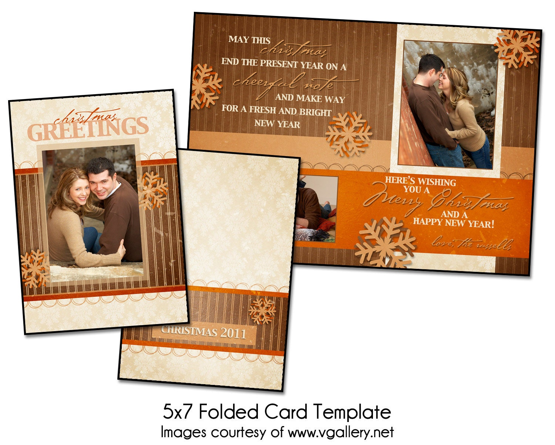 card template greetings folded 5x7