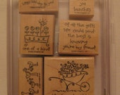 Love You Bunches Stampin' Up set of 6 wood mounted rubber stamps