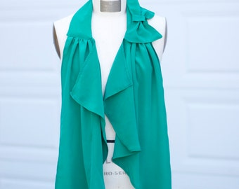 Refashioned Green Silk Scarf with Bow