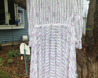 Vintage 70s SHEER White Ribbon Embossed TINY LILAC Floral Hippie Boho Fesitval Dress