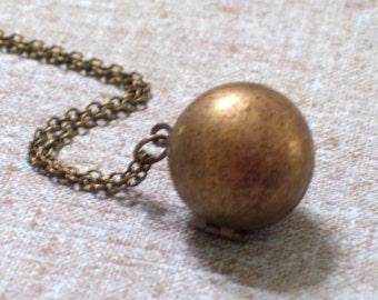 Vintage Brass Sphere Ball Locket Modernist Pendant Necklace, Secret Message Locket