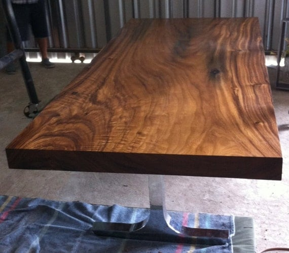 Straight Edge Dining Table Acacia Wood Solid Slab Custom Made