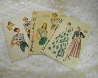 Vintage lot of 3 Sewing Patterns circa 1940's Simplicity and McCalls Blouses and Dress