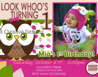 owl invitation Look Whoos Turning one invitation - OWL Theme - Birthday Party Invite - 1st Birthday Girl Owl Invite - photo pictures 1 year