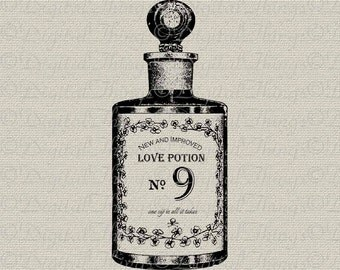 Love Potion No 9 Perfume Bottle Skull Crossbones Wall Decor Printable Digital Download for Iron on Transfer Fabric Pillows Tea Towels DT739