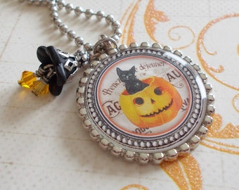 Victorian Halloween Necklace Black Cat in Pumpkin Black Cat Jewelry Pumpkin Jewelry Halloween Ellen Clapsaddle Halloween