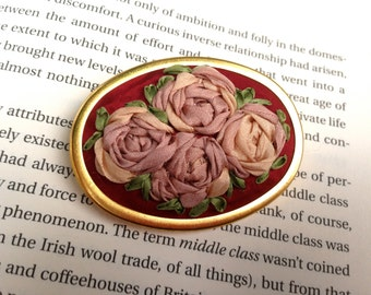 SALE - Red Embroidered Silk Rose Brooch - Silk RIbbon Embroidery by BeanTown Embroidery