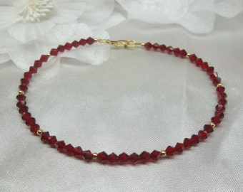 Solid 14kt Gold Ankle Bracelet Garnet Ankle Bracelet Red Ankle Bracelet Red Crystal Anklet Body Jewelry Ankle Jewelry BuyAny3+Get1Free
