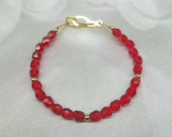 Girls Bracelet Crystal Ruby Bracelet Red Crystal Bracelet Adjustable Christmas Bracelet Solid 14kt Gold or 14k Gold Filled BuyAny3+1 Free