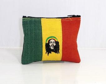 Rasta Rastafarian Bob Marley Coin Pouch Bag Purse Hemp Fabric HMONG Handmade (BG184-BOB)