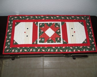 Reversible, Santa Face Quilted Table Runner