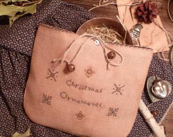 PRIMITIVE Cross Stitch E PATTERN- Pdf- ChristMas Ornaments - The Blue Attic