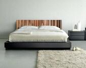 Modern Reclaimed Wood Wall Art - Wood King Headboard in Browns, Tan, Cream and Gray Stripes