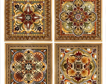 Italian Renaissance  Design Custom Backsplash Ceramic Tile Set 8""