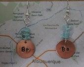 Breaking Bad inspired handstamped earrings 'Br Ba'