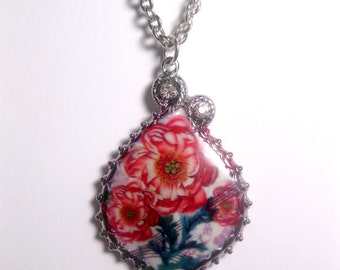 Red Cactus Flower Necklace - Pendant