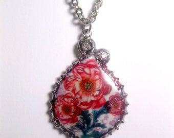 Red Cactus Flower Necklace - Pendant