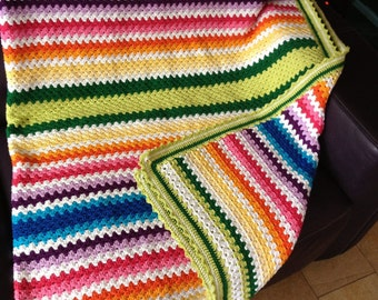 Gehaakte deken Granny stripe
