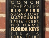 List of the Florida Keys -  Subway Scroll Vintage Style Wall Plaque / Sign