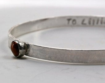 Childs Bangle Bracelet - Kids Bangle Bracelet - Personalized Childs Birthstone Bangle