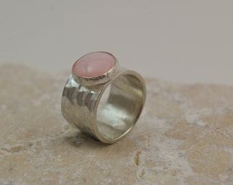 Solitaire Pink Opal Ring - Sterling Silver Wide Band Gemstone Ring - Boho Ring