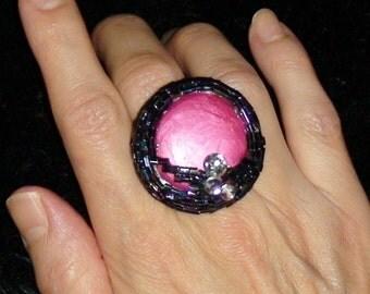 SOUTHWESTERN RING Southwestern JEWELRY Ring Oversized Pink Beaded Adjustable Southwestern Ring Ooak Handpainted Gypsy Handmade