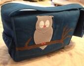 Owl Diaper Bag Blue