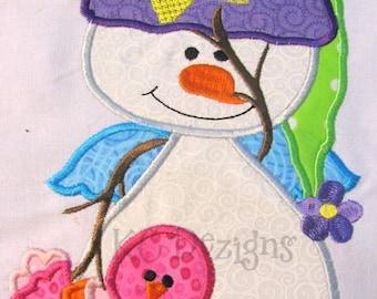 Winter Snowman 2 Machine Embroidery Applique Design - Snowman Applique Design - Christmas Applique - Christmas Design - Christmas Embroidery