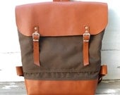 UNISEX  Brown Canvas  Backpack  with Adjustable Leather Strap / Waterproof Backpack / School / Travel / Rucksack / Laptop Bag