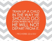 INSTANT DOWNLOAD - Train up a child in the way he should go - 11x14 Kids and Baby Nursery, bible verse art