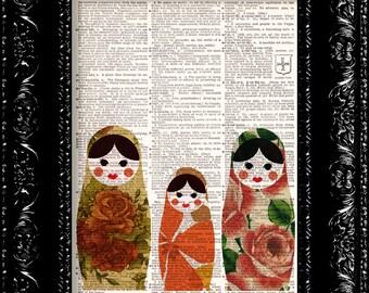 Japanese Matryoshka Dolls  2  - Vintage Dictionary Print Vintage Book Print Page Art Upcycled Vintage Book Art
