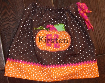 Boutique Pumpkin with Initial Pillowcase dress Sizes 3M to 8 youth