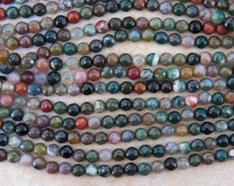 6mm Natural Indian Agate Faceted Round Gemstone Beads, Half Strand (INDOC79)