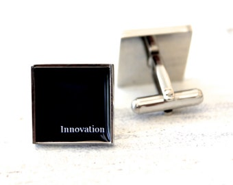 Innovation cufflinks - mens square cufflink accessories - heirloom gifts handmade in the USA