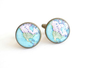North America Vintage Map Cufflinks - mens brass cuff link accessories - heirloom gifts handmade in the USA