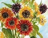 Colorful Sunflowers - watercolor, floral, giclee or canvas print