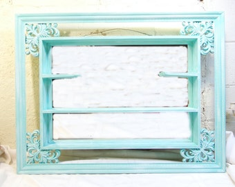 Vintage Shadow Box Display Shelf Shabby Mirror Ornate Hand Painted Robins Egg Blue and White 34 x 26