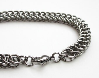 Men's chainmaille bracelet, stainless steel Half Persian weave, men's steel bracelet