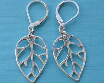 Leaf Sterling Silver Lever Back Earrings 54