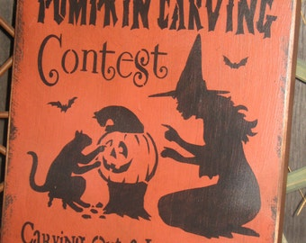 """Primitive Lg Holiday Wooden Hand Painted Halloween Salem Witch Sign -  """" Salem's Pumpkin Carving Contest  """"  Country  Rustic Folkart"""