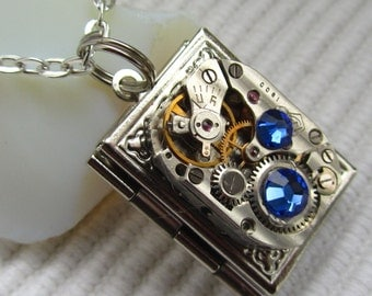 Steampunk book locket necklace with vintage watch  movement and Royal Blue Swarovski crystals Gift for Her Birthday gift Photo locket