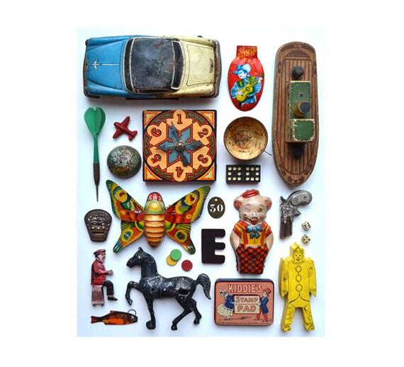 8x10 PRINT vintage toys tin toys pig butterfly horse cowboy clown   by Elizabeth Rosen