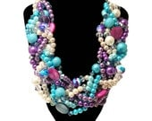 ORIGINAL TWISTED, Statement Necklace, Purple, Turquoise, Aqua, Blue, Ivory, Lavender, Bold, Chunky, Pearls, Bridal, Jewelry by Jessica