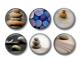 Zen Stones pinback button badges or fridge magnets