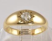 Wedding Ring - Antique 15KT Gold Wedding Band - Diamond Engagement Ring - Old European Cut Diamond - 1/3 CT - Size 6.5 - C1900