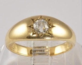 Wedding Ring - Antique 15KT Gold Wedding Band - Diamond Engagement Ring - Old European Cut Diamond - 1/3 CT - Size 6.5 - C1900