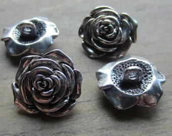 Rose Button Silver Base Metal 20mm Large Shank QTY 1