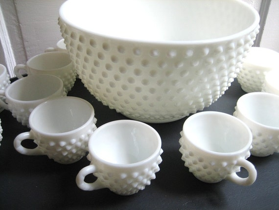 Hobnail White Milk Glass Punch Bowl Set