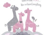 GIRAFFE NURSERY, PINK gray decor, Baby girl wall art, First we had each other, baby giraffes, personalized, children's room art, 8x10 prints