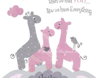 GIRAFFE NURSERY, PINK gray decor, Baby girl wall art, First we had each other, baby giraffes, personalized, children's room art, 8x10 prints